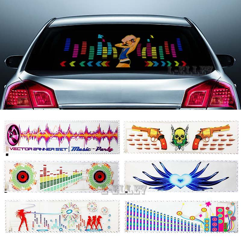 CYAN SOIL BAY Multi-selective Beautiful Girl Car Sticker Music Rhythm LED Flash Light Sound Equalizer Lamp Dancing Horn