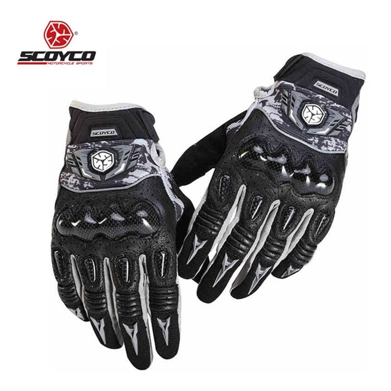 SCOYCO Motorcycle Gloves  Men Moto Motocross LeatherProtection Perforated Riding Gloves Motorcross Off-Road Racing Gloves MX49