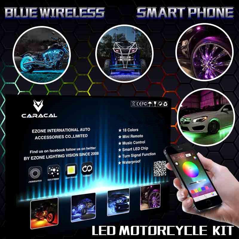 18 Color LED BLUETOOTH Acento Motocicleta Motor Resplandor Flexible Luz Tira pod Kit