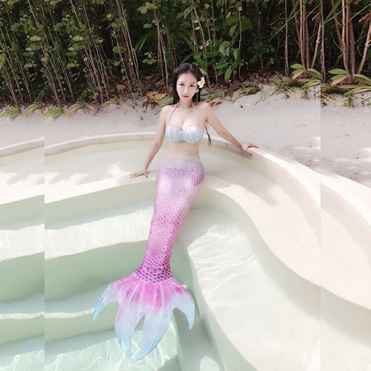 Mermaid <font><b>Tail</b></font> Adult With Monofin For Swimming 2pcs Mermaid <font><b>Tails</b></font> Costume Women Girls Cosplay Swimming Adult Women Cosplay Costume