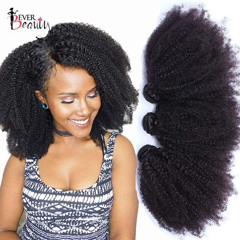 Mongol Afro Crépus Bouclés Armure de Cheveux Humains Extensions 4B 4C Vierge Cheveux 1 Ou 3 Bundles Naturel Noir 10- 24 pouces Jamais la Beauté