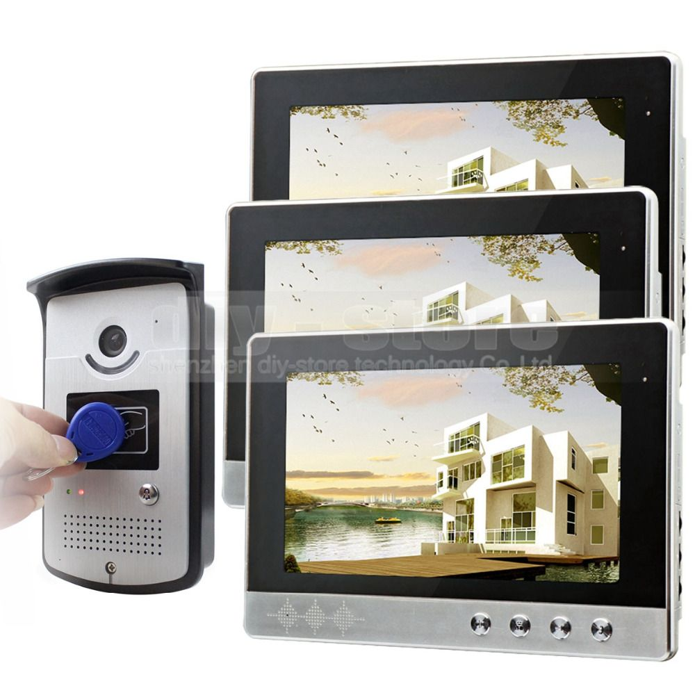 DIYSEUCR 10 inch Video Door Phone Doorbell Home Security Video Intercom System RFID Camera Night Vision 1 Camera 3 monitors