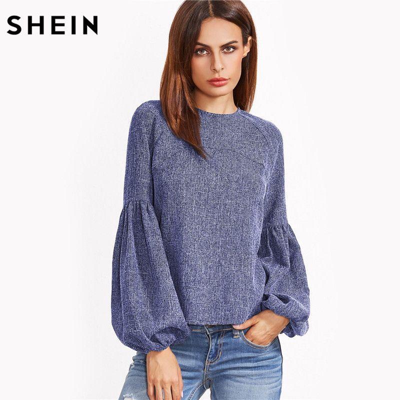 SHEIN Lantern Sleeve Keyhole Back Top Autumn <font><b>2017</b></font> Womens Casual Long Sleeve Round Neck Blouse Blue Women's Tops
