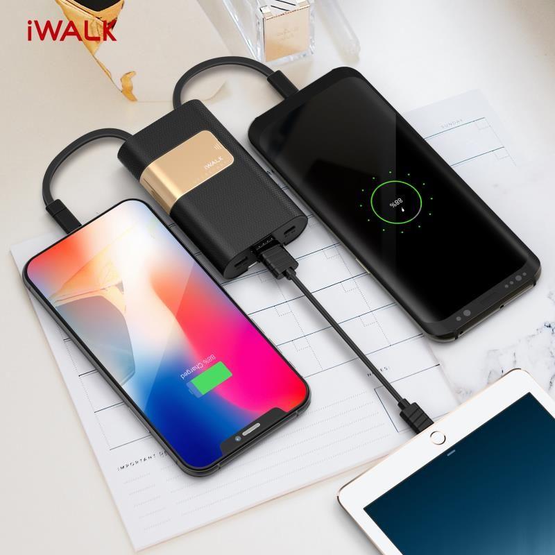 IWalk 10000 mah Power Bank Typ C Power QC 2,0 mit USB C Kabel für Xiaomi Mi8 Nexus 5X6 p Samsung S9 Note8 Huawei P10 P20