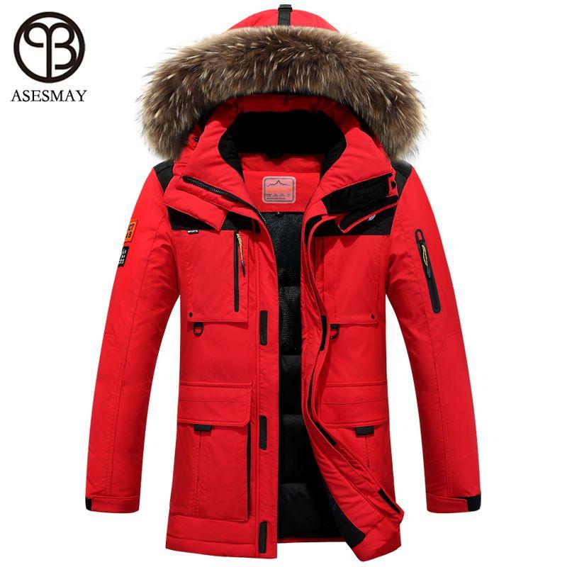 Asesmay 2016 winter jacket men coat duck down jacket with fur hood Removable parka men coat masculine jacket Plus Size