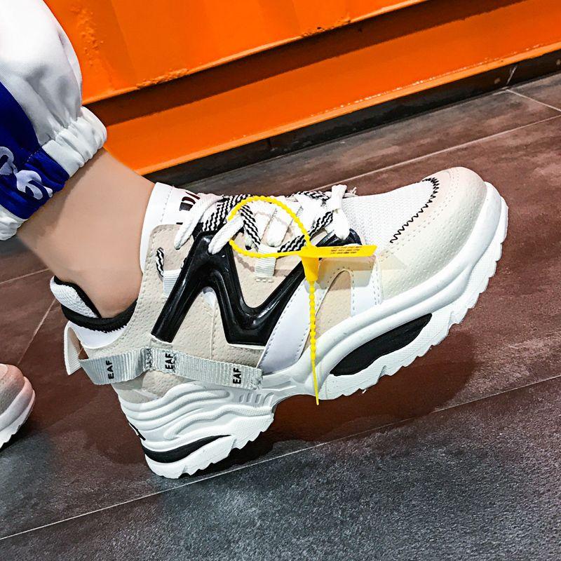 Femmes élégantes chaussures décontractées amoureux en cuir papa plate-forme Chunky baskets Harajuku plat semelle épaisse Tenis Wedge blanc panier marche