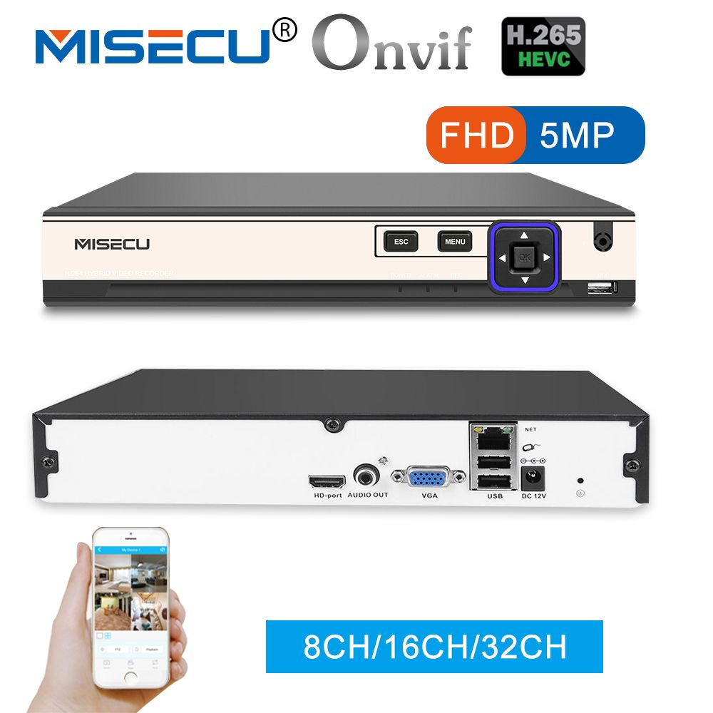 MISECU NEW H.265 5MP 8CH/16CH 1080P 32CH 2 SATA HDD Ports NVR XMEYE ONVIF P2P Motion Detection HDMI VGA CCTV Video Recorder