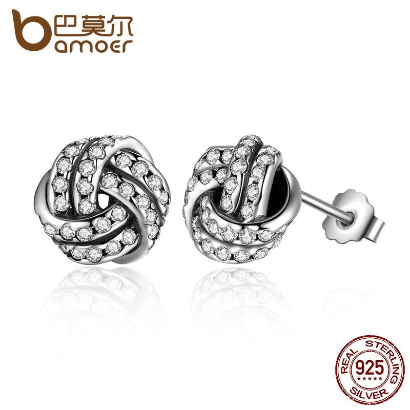 BAMOER Popular 925 Sterling Silver Weave Classic Push-back Stud Earring Women Jewelry brinco PAS476