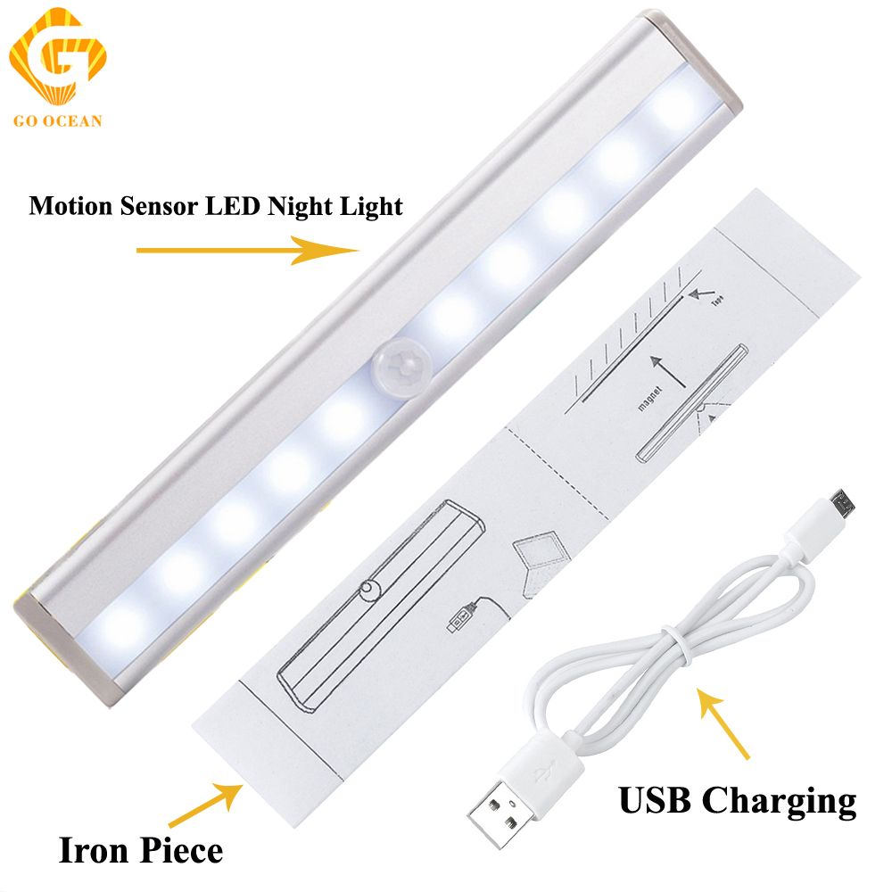 GO OCEAN Under Cabinet Lights Night Lighting IR Infrared Motion Sensor 10 LEDs Closet Lamp USB Charging Lamps Night Light