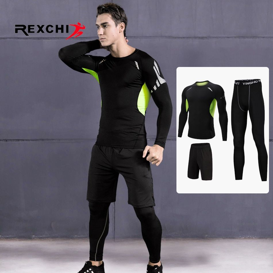 3 Pcs/Set Men Sports Suit Compression Underwear Outdoor Running Jogging Clothes T Shirt Pants Gym Fitness Workout Tights Costume