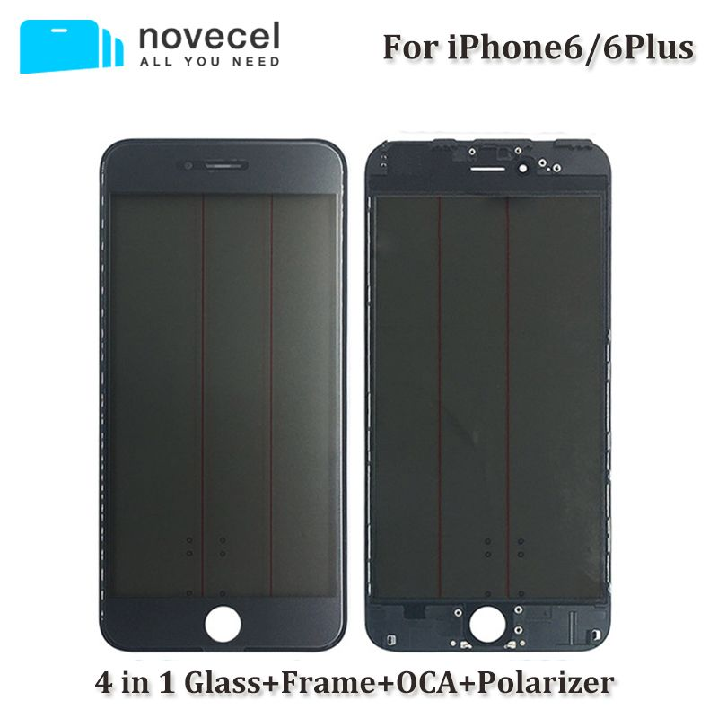 Novecel 4 in 1 A+ Front Screen Outer Glass Lens with Frame OCA+Polarizer for iphone 6 6plus 6S Plus Glass Replacement
