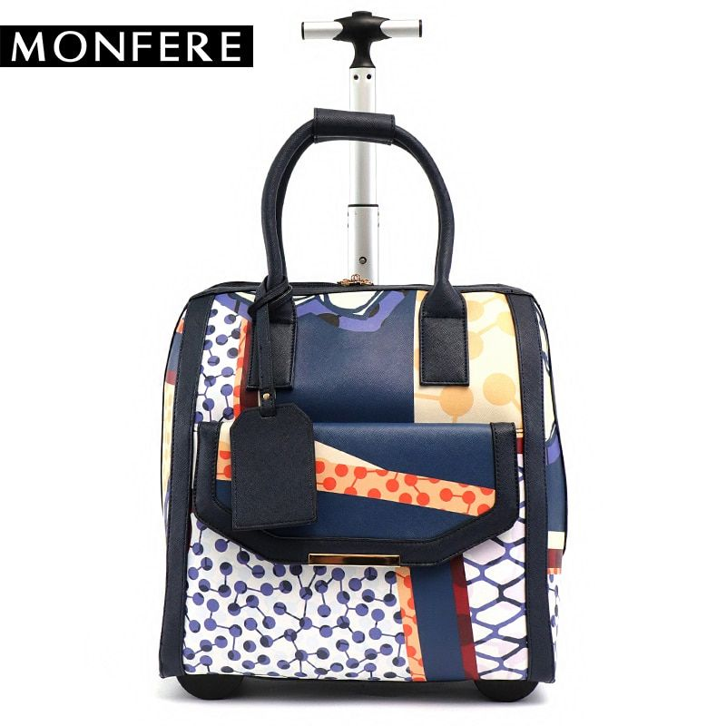 MF rolling carry on luggage bag fashion women pu leather big trolley wheels travel bags totes overnight bag photo hand luggage
