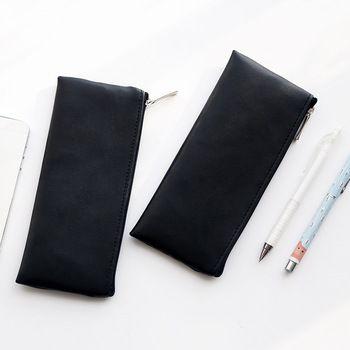 Fashion Black Pencil Case Cute Portable Leather school pencil bag stationery pouch kids gift Office school Supplies Zakka