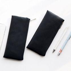 Fashion Hitam Pensil Case Cute Portable Kulit Tas Alat Tulis Pensil Kantong Anak-anak Hadiah Kantor Sekolah ZAKKA