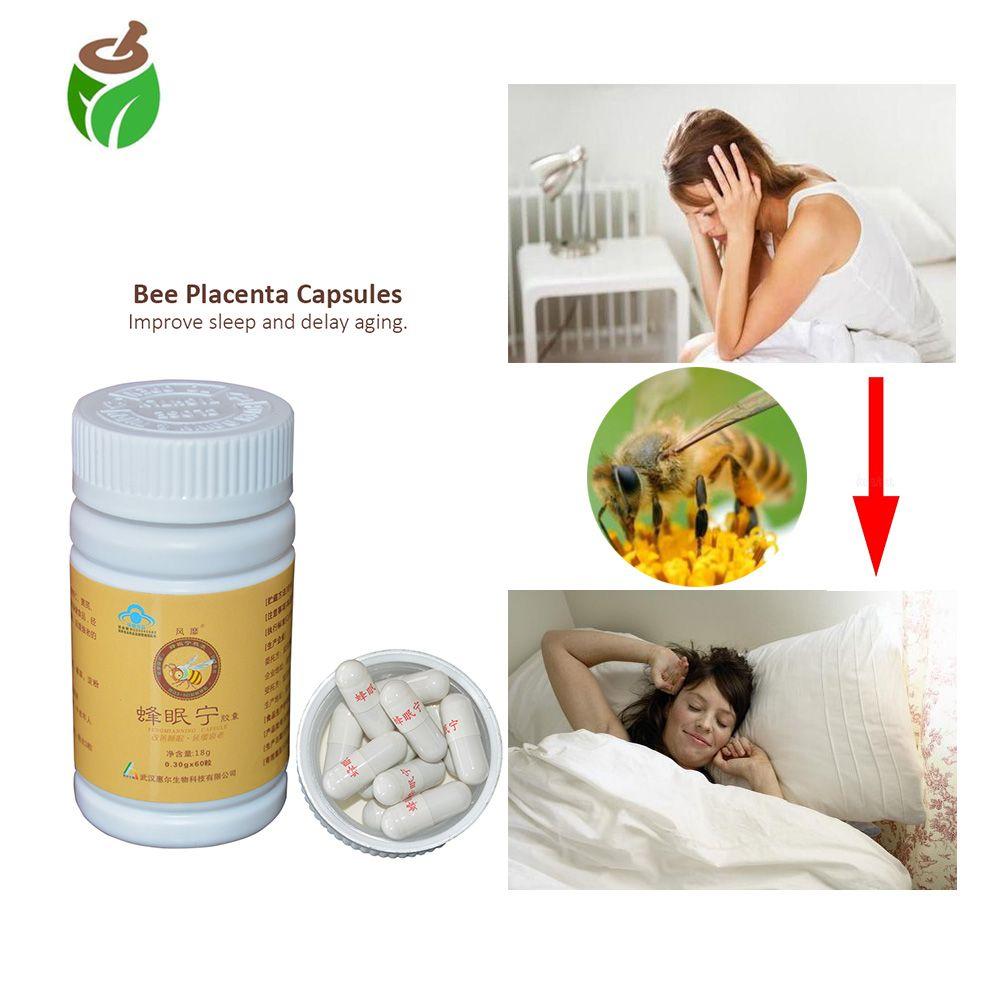 3 flaschen Anti schlaflosigkeit schlaflosigkeit behandlung Chinesischen kräuter bee plazenta extrakt kapsel pillen verbessern schlafen anti aging