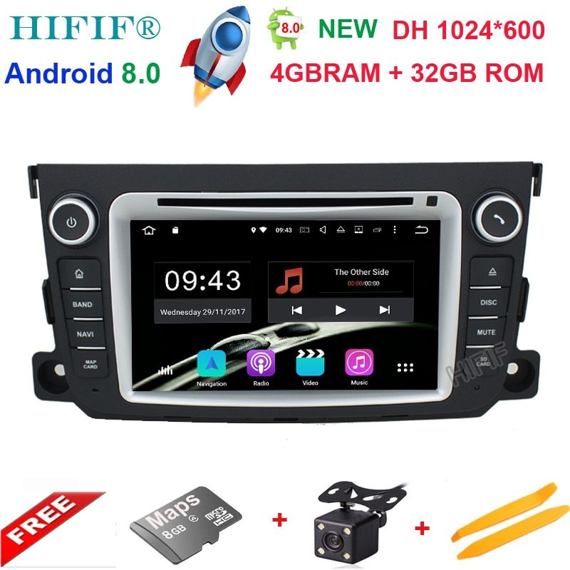 1024*600 7 inch For Mercedes Benz Smart Fortwo Android 8.0 Octa Core 4GB RAM 32GB ROM Radio Car DVD Player GPS Navigation System