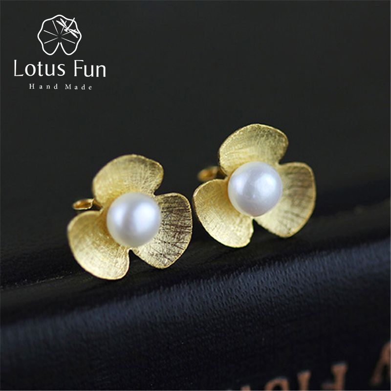 Lotus Fun Real 925 Sterling Silver Natural Pearl Stud Earrings Handmade Fine Jewelry Fresh Clover Flower Earrings for Women Gift