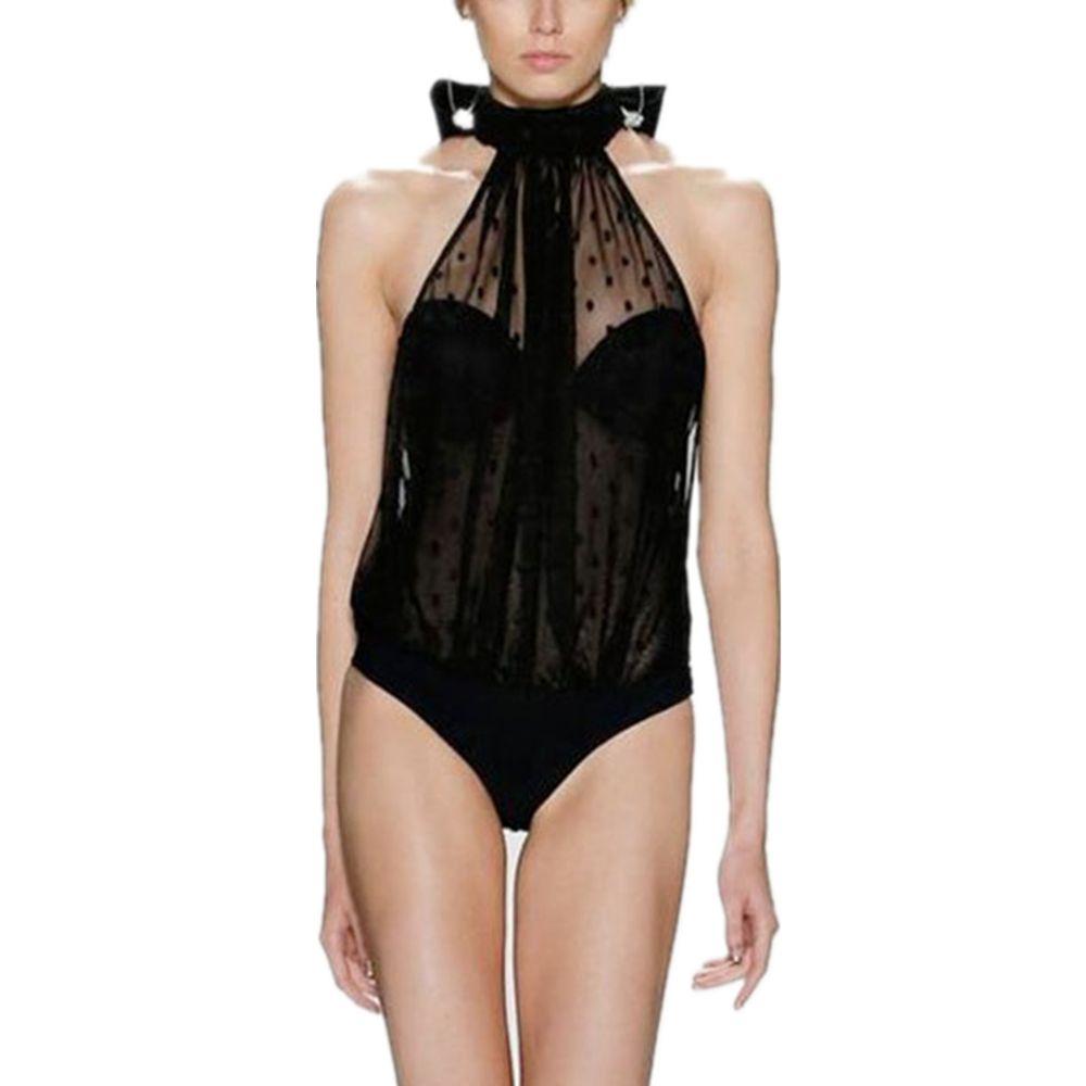 Sexy Swimsuit Women 2017 Black Swimwear High Neck One Piece Bathing Suit for Female Sheer Net Mesh Beachwear Maillot De Bain