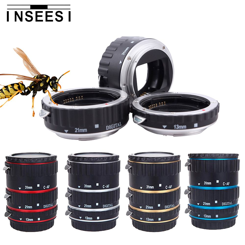 Inseesi For Canon EOS EF-S Lens 1100D 60D 70D 550D 600D Cameras 5pcs Color Metal Mount Auto Focus AF Macro Extension Tube Ring