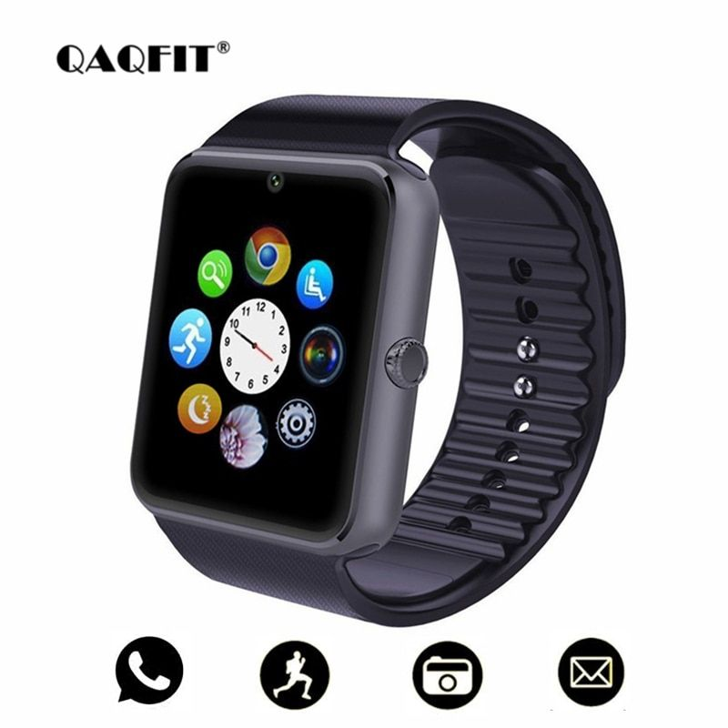 QAQFIT Bluetooth Smart Watch Men GT08 With Touch Screen Big Battery Support TF Sim Card Camera For IOS iPhone Android Phone