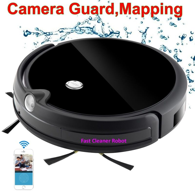2018 Camera Guard Video Call Map Navitation Wireless Vacuum Cleaner Robot With WiFi App Control,Smart Memory, Big Water Tank