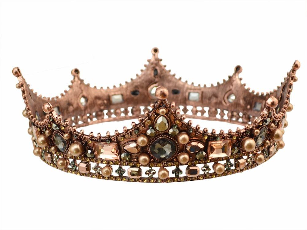 Baroque luxe perle de mariée opale couronne de mariage fête de bal Vintage cristal complet grand roi reine diadème et couronne cheveux accessoires