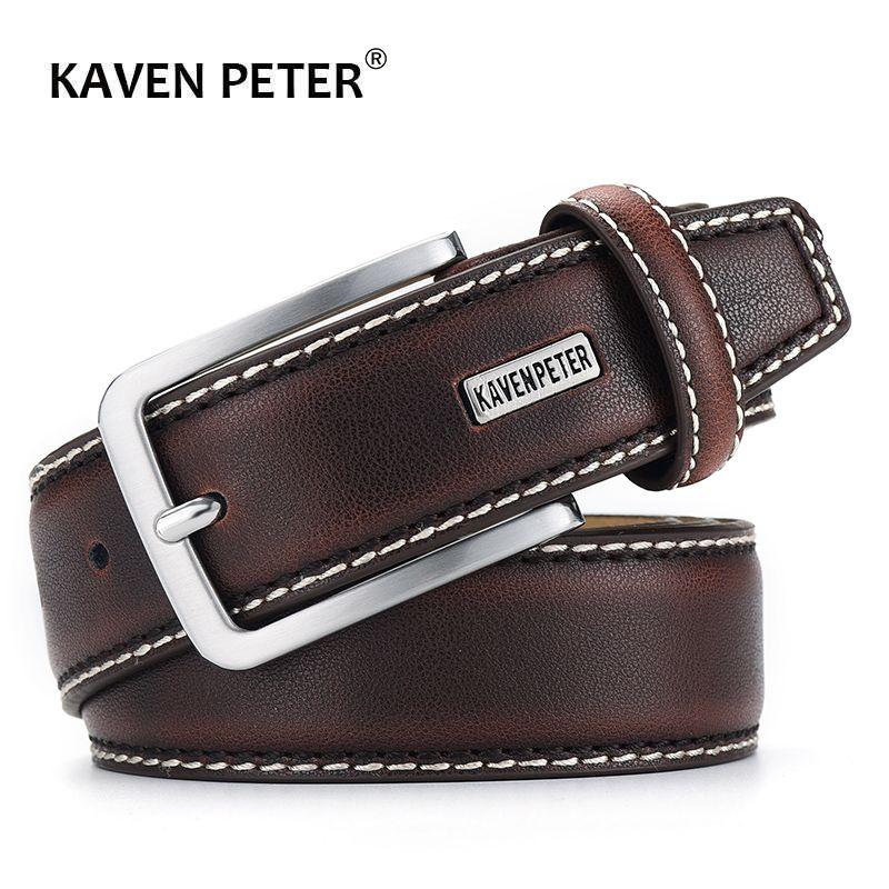 Mode hommes ceintures en cuir véritable de luxe Designer marron Vintage ceinture de taille pour Jeans Cinturon Cowboy Hombre livraison directe