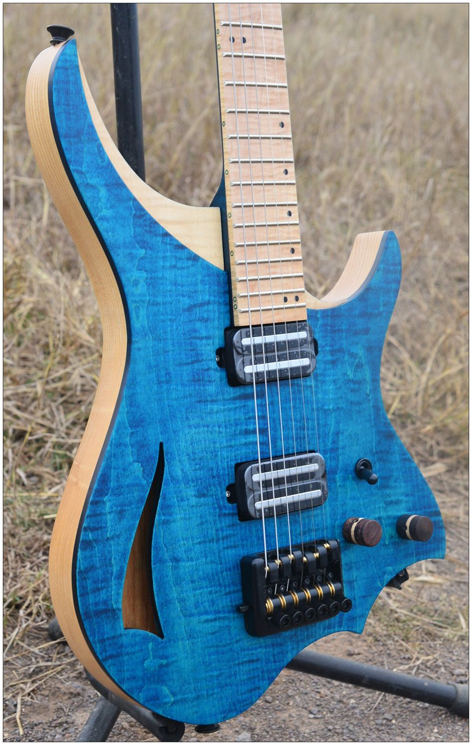 Headless Electric Guitar steinberger style Model Purple blue color 6mm Flame maple top and Neck in stock Guitar free shipping