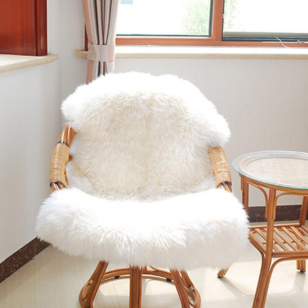 Sheepskin Chair Cover Seat Pad Soft Carpet Hairy Plain Skin Fur Plain Fluffy Area Rugs Bedroom Faux Carpet Mat 60cmx 90cm