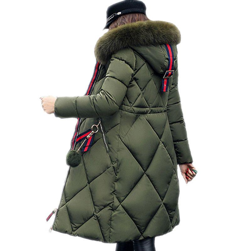 Большой меховой зимняя куртка утепленная парка женщин шить тонкий длинное зимнее пальто вниз хлопок дамы вниз парка пуховая куртка женские...