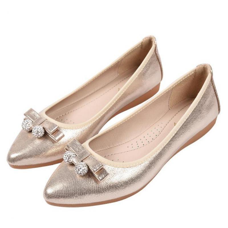 Or argent plat strass chaussures femmes décontracté Bow cristal bout pointu sans lacet dames mocassins appartements femmes doux confortable chaussures