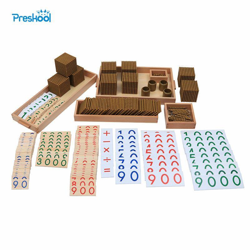 Montessori Kinder Spielzeug Baby Holz Goldene Perle Materialien Lernen Bildungsvorschul Ausbildung Brinquedos Juguets