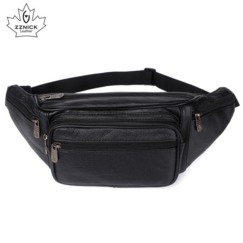 Genuine Leather Waist Bag men Waist Pack Waist Bag Funny Pack Belt Bag Men Chain Waist Bag For Phone Pouch Bolso ZZNICK