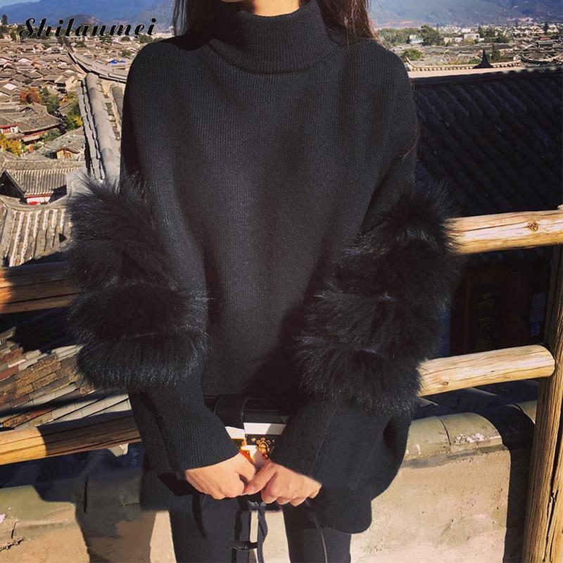 Las mujeres de Gran Tamaño Suéter de la Piel Del Invierno Truien Dames Manche Longue Túnica Femme Tirón de Cuello Alto 2018 de La Manera del Suéter Mullido Outwear