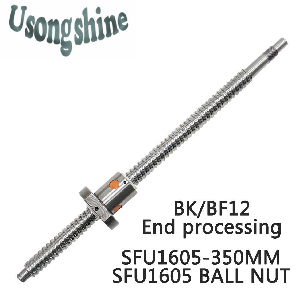 SFU1605 16mm 1605 Ball Schraube Gerollt C7 kugelumlaufspindel SFU1605 350mm mit einem 1600 flansch einzigen ball mutter für CNC teile und maschine