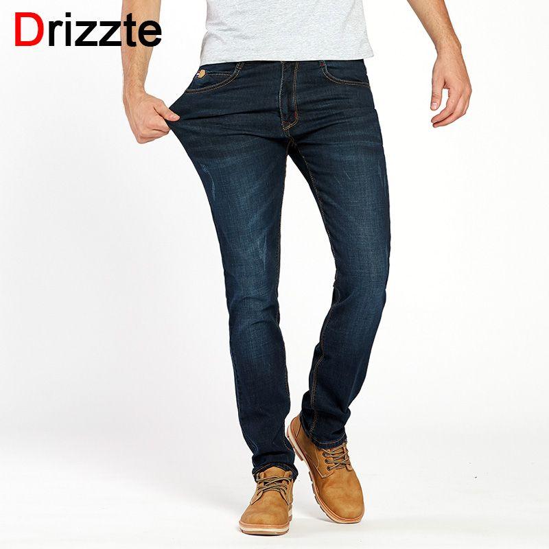 Drizzte Brand Men Stretch Denim Slim Jeans Black Blue Fashion Trendy Trousers Pants Size 28 - 36 38 40 42 For Men's Jean