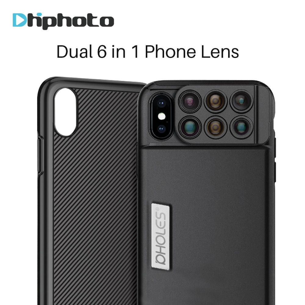 Pholes For iPhone X 6 in 1 Camera Phone Lens Fisheye Wide Angle Macro Lens 20X Telephoto Mobile Phone Zoom Lenses with Case