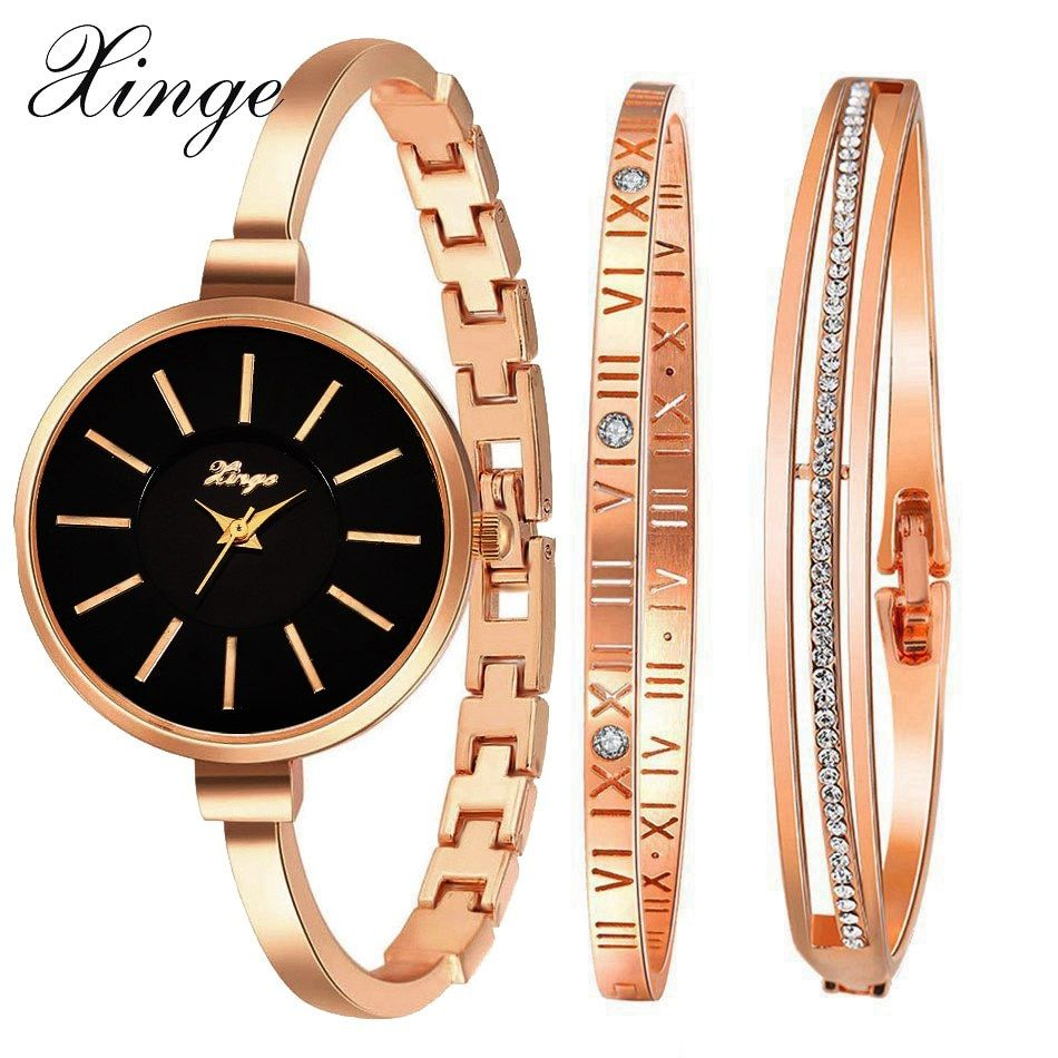 XINGE известного бренда роскошные часы Для женщин модная розовая часы-браслет набор платье ювелирные часы дамы Повседневное кварцевые наручн...