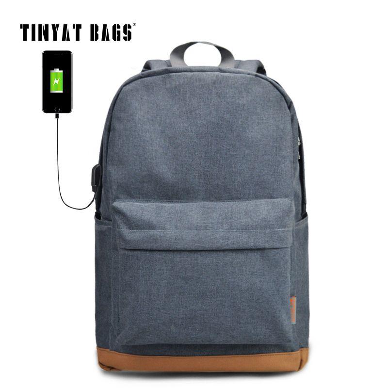 TINYAT Men's 15 inch Laptop Backpack USB Charging School Backpacks Rucksacks <font><b>Leisure</b></font> For Teenage mochila male Escolar Gray 1101