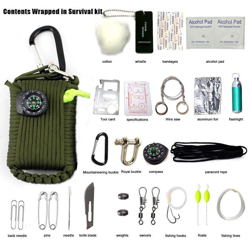 29 в 1 Новый SOS выживания Открытый EDC Паракорды Выживания Аварийный Комплект EDC Шестерни для кемпинга Охота Зеленый Полезная Охота инструмент...