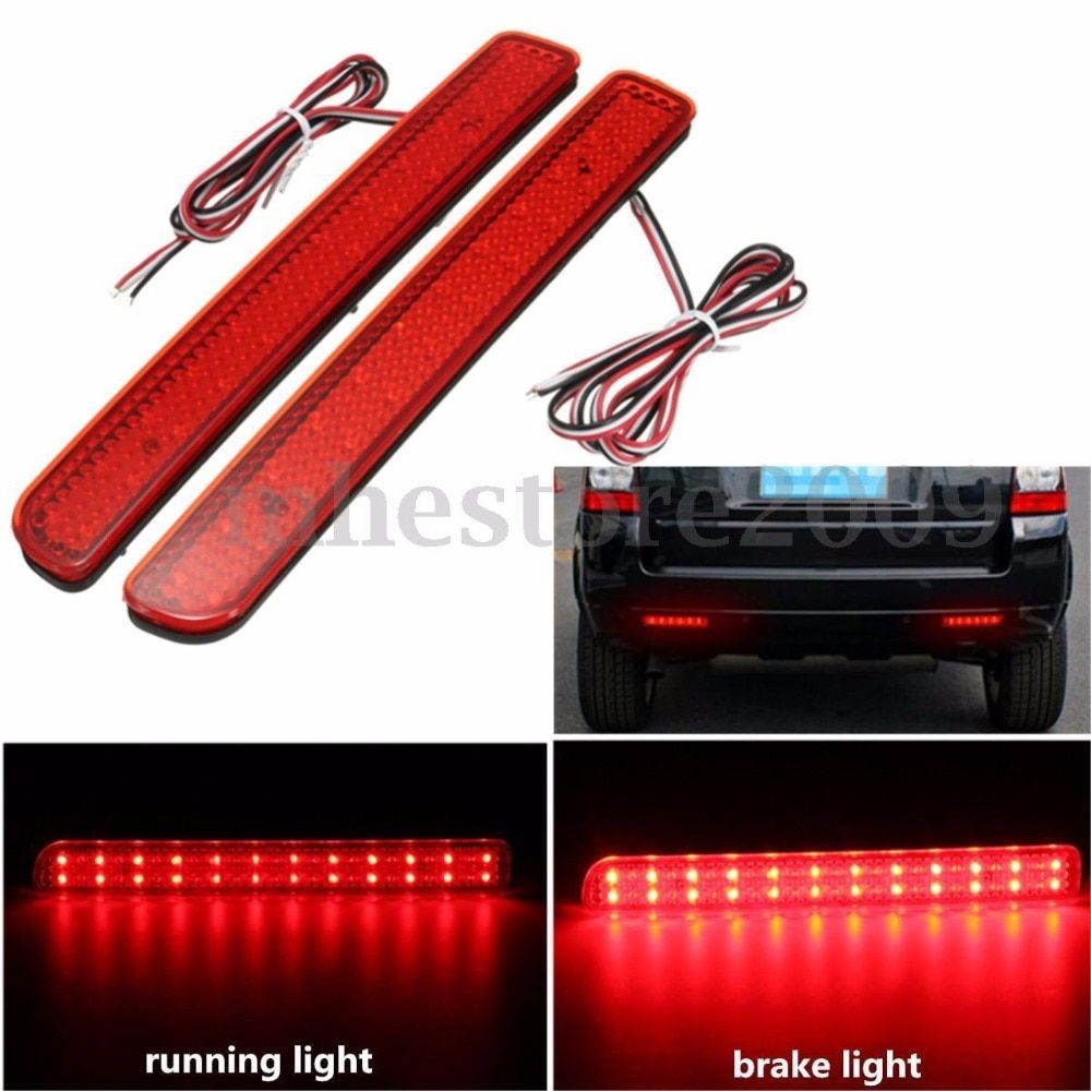 2X 24LED Rear Bumper Reflector Brake Running Light For Land Rover Discovery 3 LR3 05-09 4 LR4 10-13 L320 Facelift