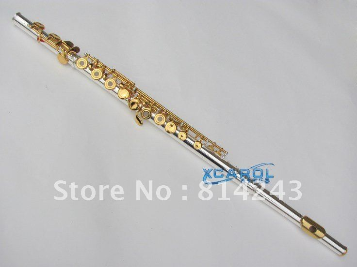 271S C 16 Hole Openings Flute Silver Plated Gold Key Professional Musical Instruments Flute