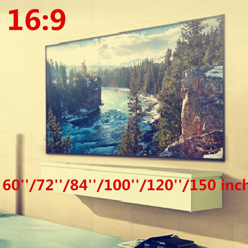 Складной 16:9 проектор 60 72 84 100 120 150 дюймов БЕЛЫЙ Проекционный Экран для HD проектор домашнего Театр Кино фильмы партия