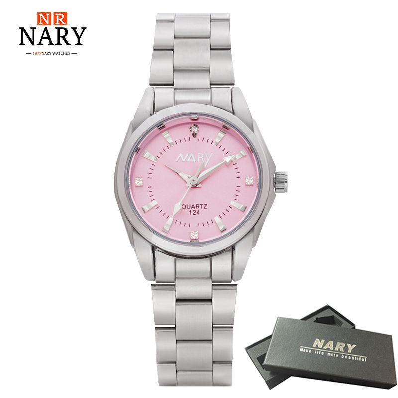 NARY reloj de lujo en moda mujer reloj Colorido Dial Reloj Mujer Conciso Chica Reloj de Cuarzo Mujeres Rhinestone Relojes Señoras Reloj