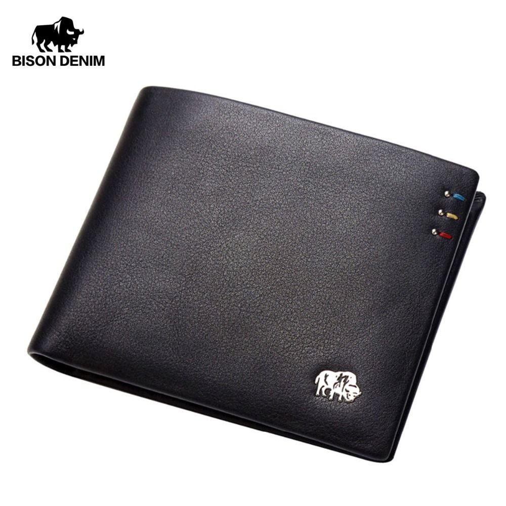 BISON DENIM Business Casual Wallet Men Top Layer Genuine leather Purses Men Short Wallets Metal Brand Logo Slim Wallet N4411-3B