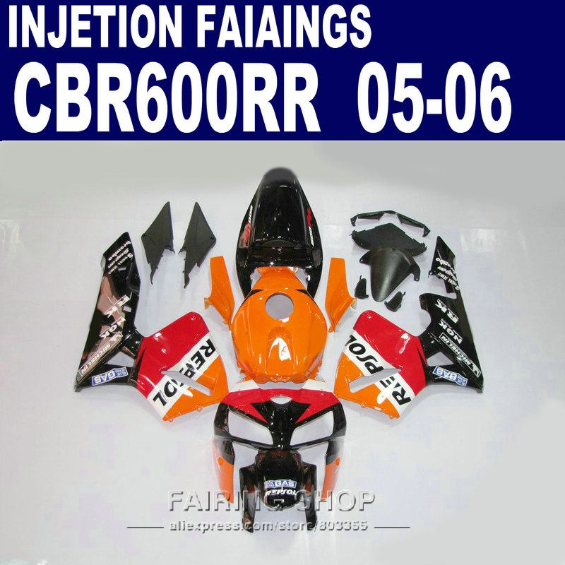 100%fit kits ,CBR600RR Fairings 2005 2006 REPSOL oRANGE cbr 600rr 05-06 Fairing kit For Honda l42