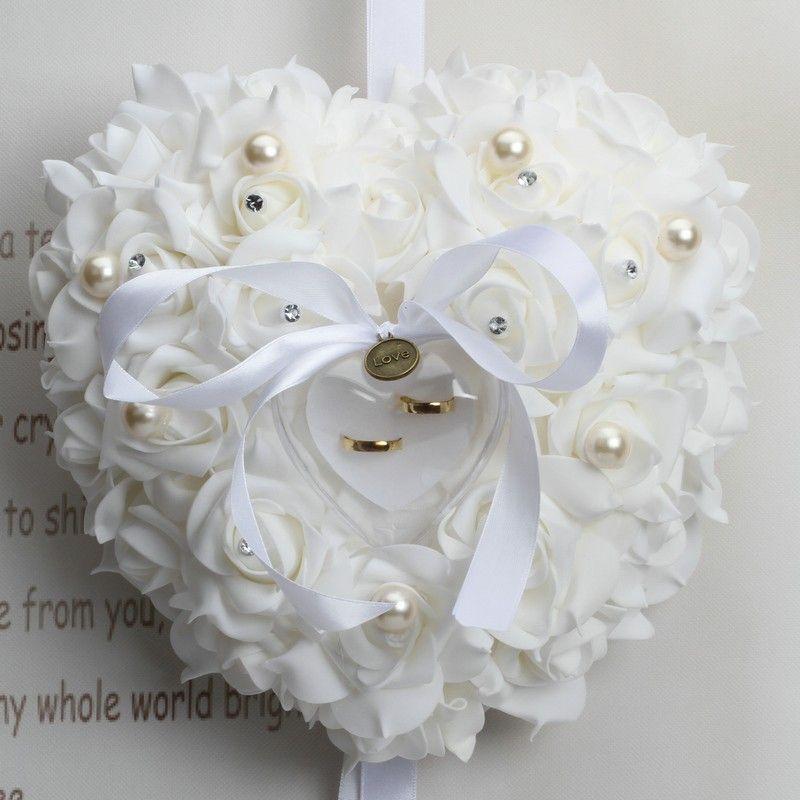 10 pcs Coeur taille (Bartek) Blanc Faveurs De Mariage Élégant Dentelle Rose Strass Anneau Oreiller Unique