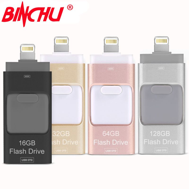 BINCHU iOS10 <font><b>Lightning</b></font> OTG Flash Drive 8GB 16GB 32GB 64GB For iOS and USB For PC For Tablet OTG Pendrive for iPhone otg U Disk