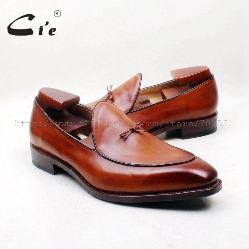 Cie Bogen Knoten Karree 100% Aus Echtem Leder Laufsohle Bespoke Rahmengenäht Handwerk Handmade Brown männer Slip-On schuh Loafer164-1