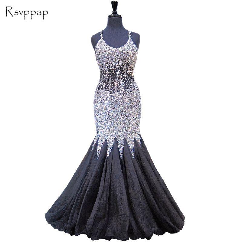 Vestido de noche largo 2017 sirena de lujo cristales correa de espagueti rebordeó backless nueva llegada negro mujeres vestidos de noche formal